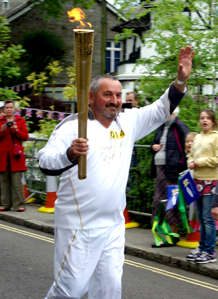 Olympic Torch in Newlyn, Penzance, Cornwall