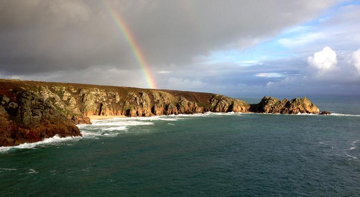 Porthcurnow-Logans Rock-Cornwall-Rainbow