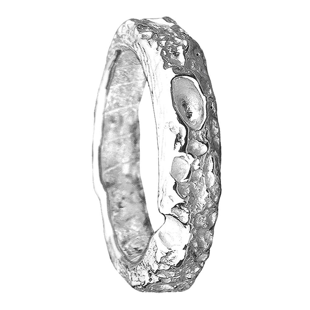 Bespoke Cornish Beach Sand Textured Handmade 14 White Gold Wedding Ring