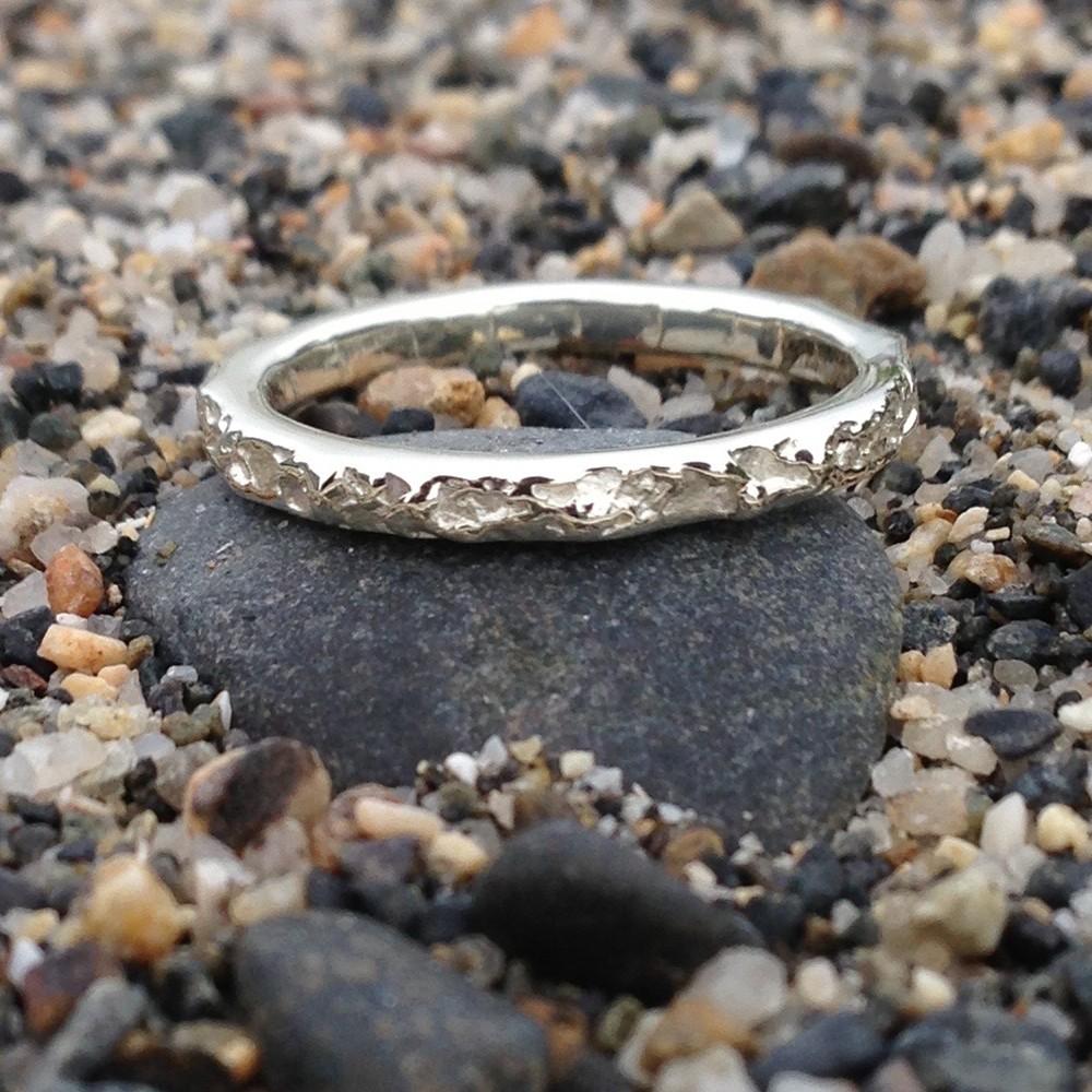 Bespoke Cornish Beach Sand Handmade Sterling Silver 3mm Wedding Ring