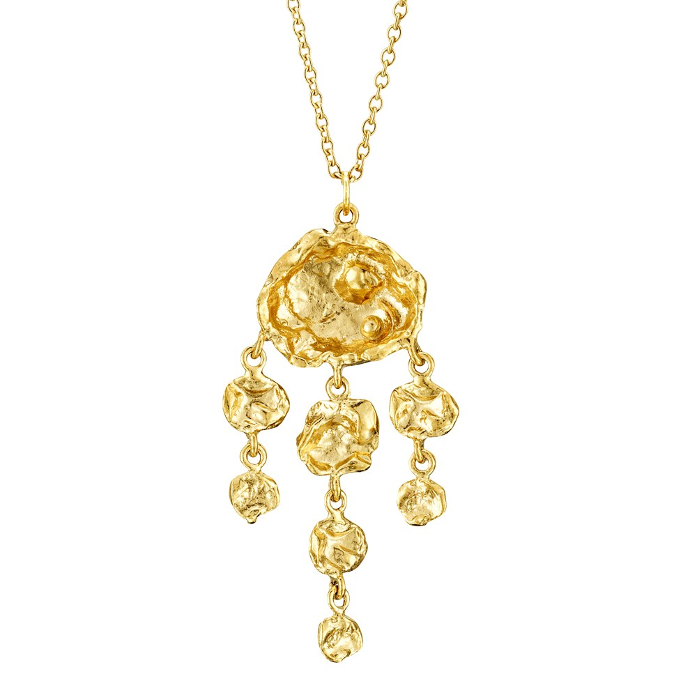 Cornish Seawater Cast Jelly Fish 18ct Yellow Gold Vermeil Handmade Necklace