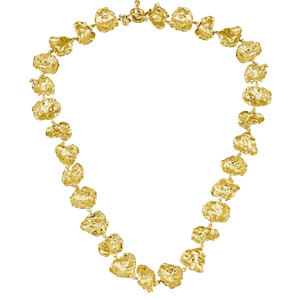 Cornish Seawater Cast Rippled Chunky 18ct Gold Vermeil Handmade Necklace