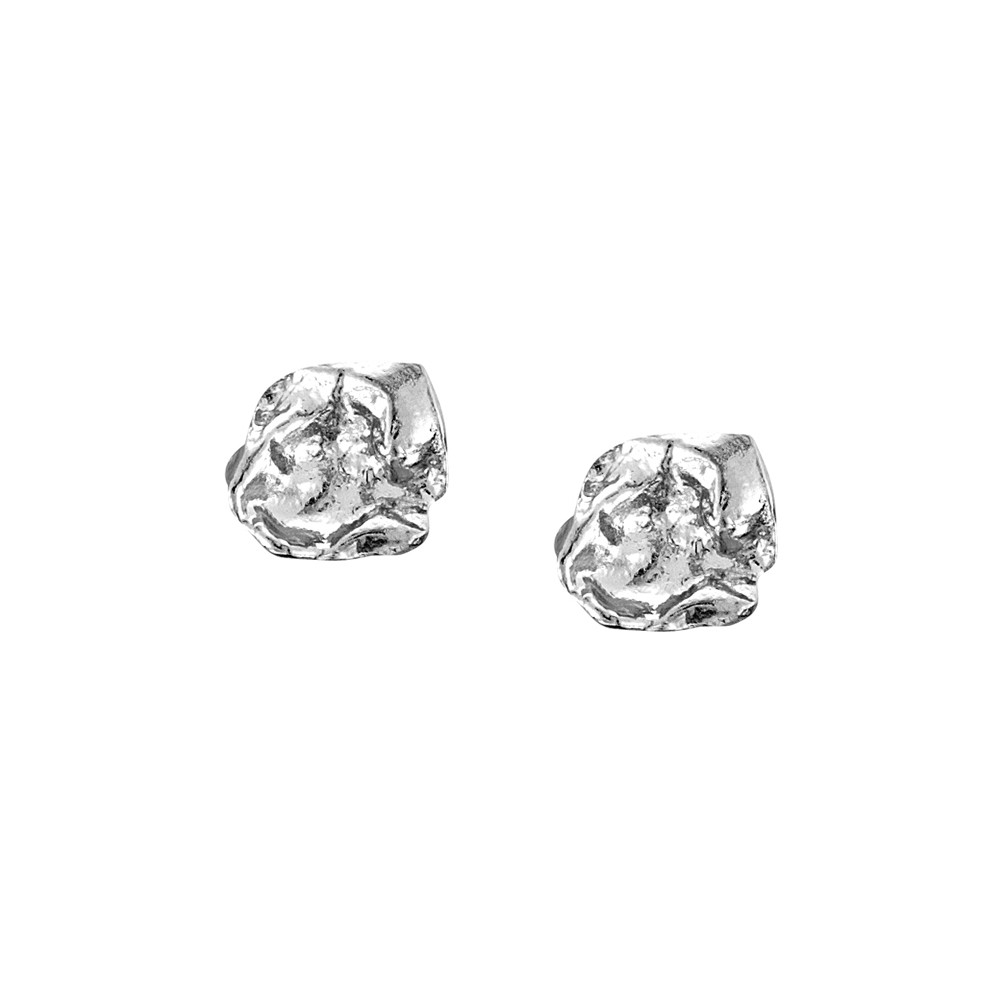 Cornish Seawater Cast Rippled Square Sterling Silver Handmade Stud Earrings