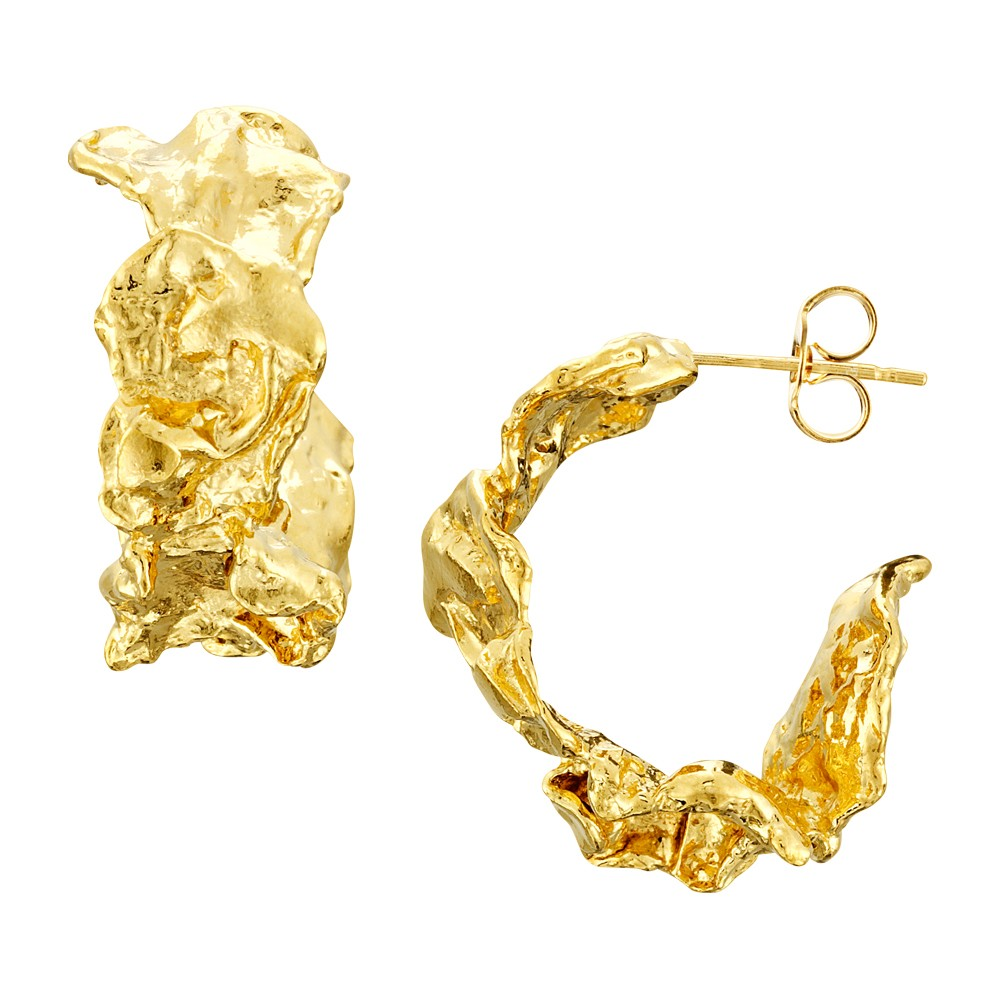 Cornish Seawater Cast Rippled Chunky Gold Vermeil Handmade Hoop Earrings