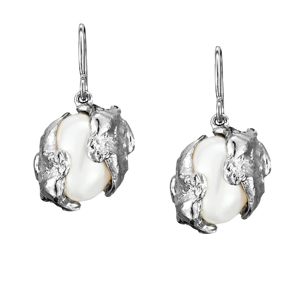 Cornish Seawater Cast Encased Handmade Oval Pearl Earrings