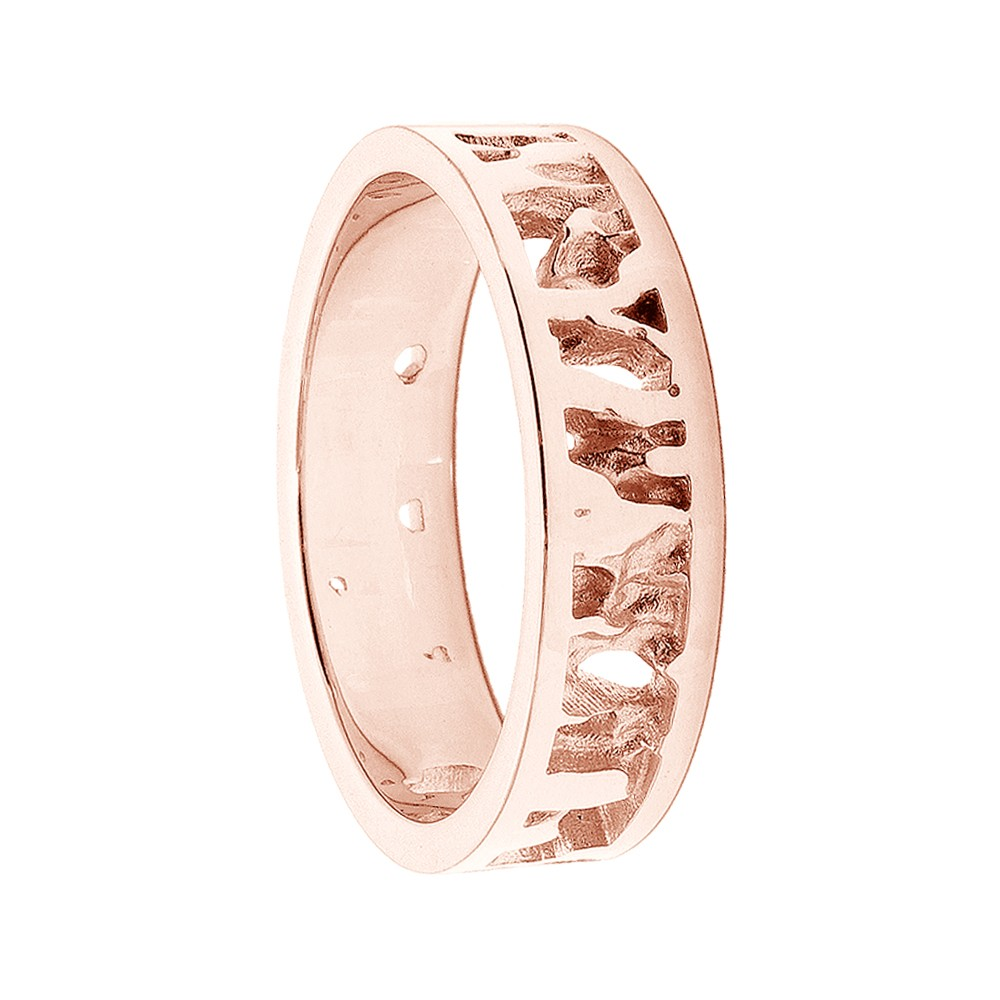 Cornish Seawater Textured Nautical 9ct Rose Gold Handmade Wedding Ring