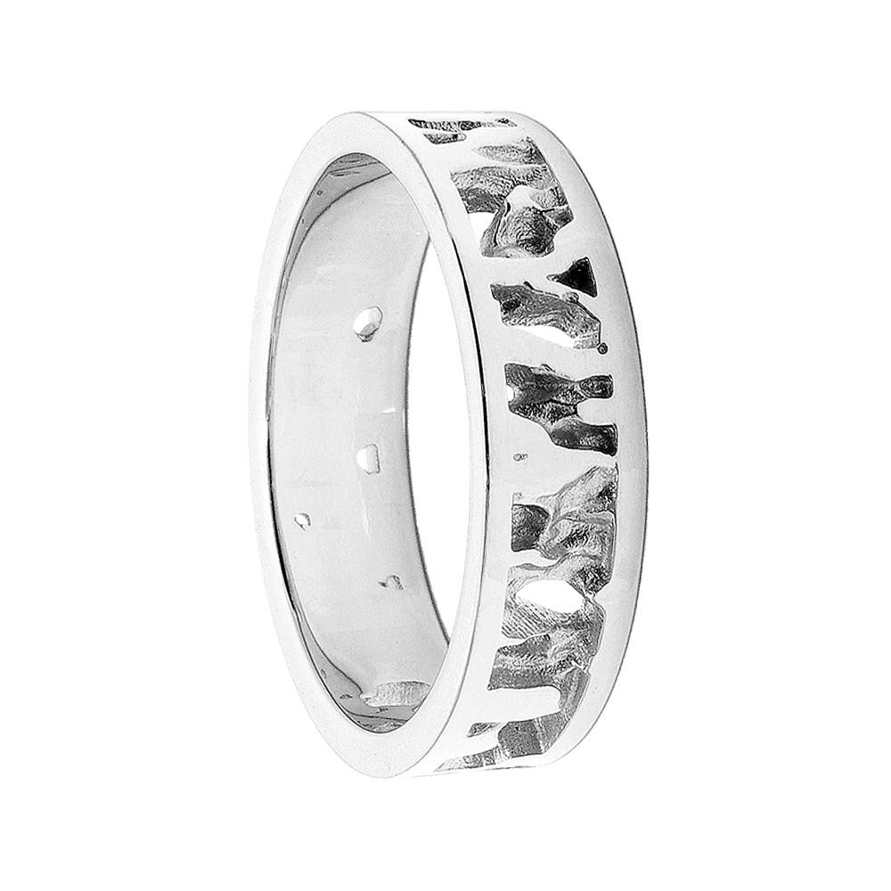 Cornish Seawater Textured Nautical 9ct White Gold Handmade Wedding Ring