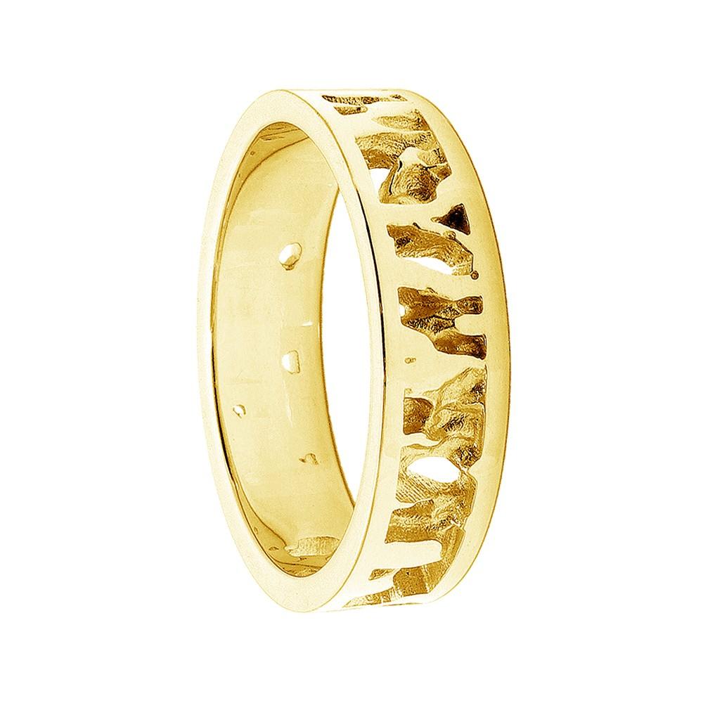 Cornish Seawater Textured Nautical 18ct Yellow Gold Handmade Wedding Ring