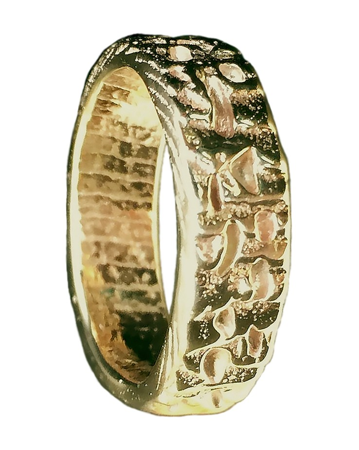 Bespoke Beach Sand Textured 9ct Yellow Gold Handmade Cornish Wedding Ring