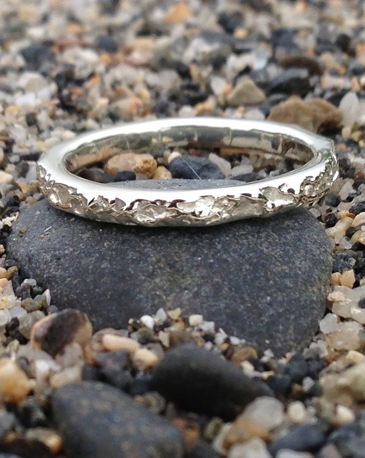 Sterling Silver Bespoke 3mm Wedding Ring Cornish Beach Sand Textured