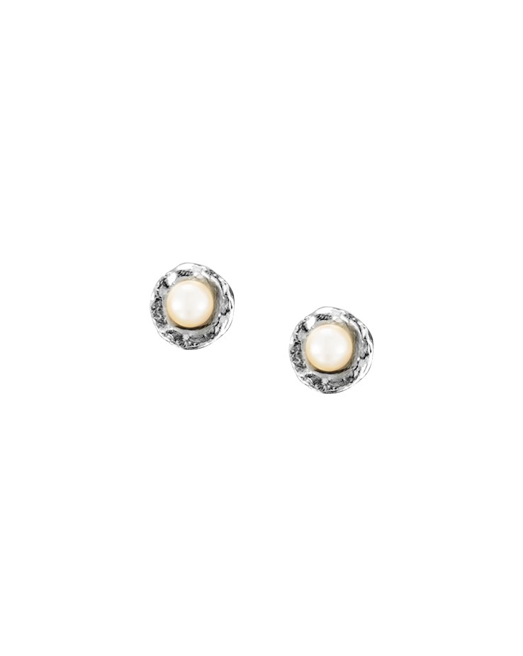 Tiny Cup Silver Handmade Pearl Stud Earrings