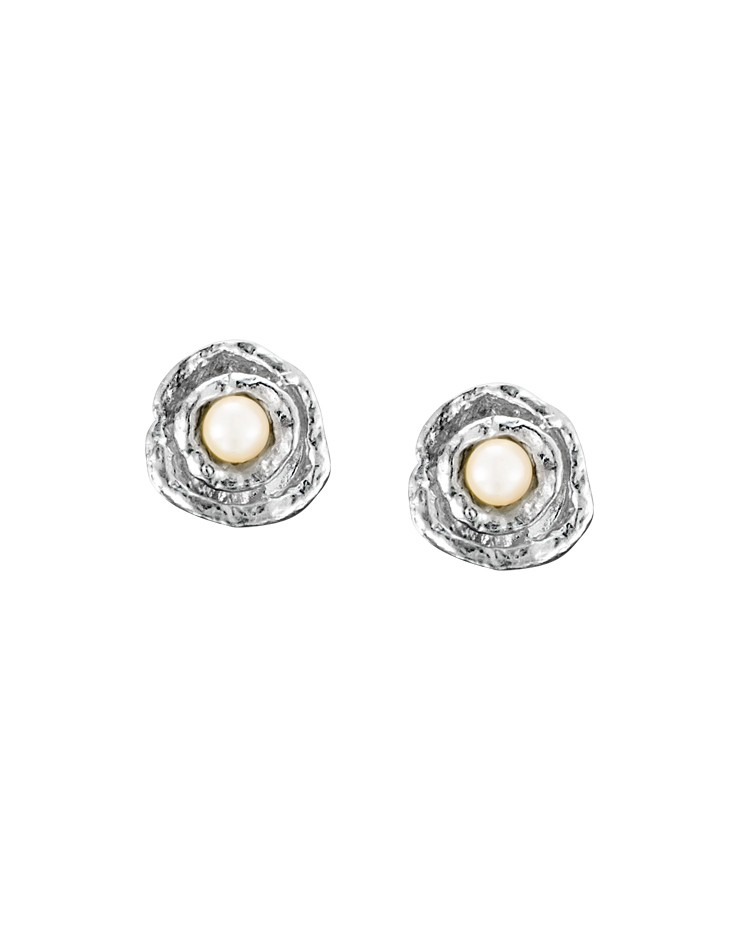 Cornish Designer Small Double Cup Silver Handmade Pearl Stud Earrings