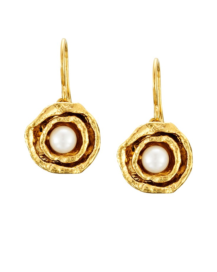 Cornish Designer Double Cup Gold Handmade Pearl Earrings