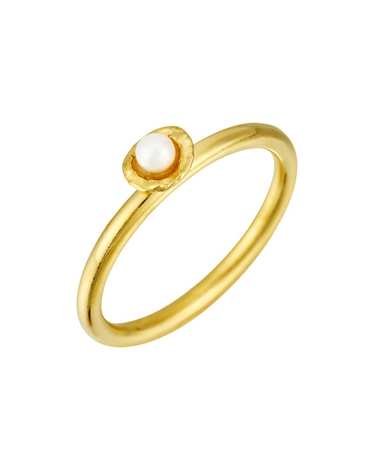 Cornish Tiny Cup Gold Vermeil Handmade Pearl Ring
