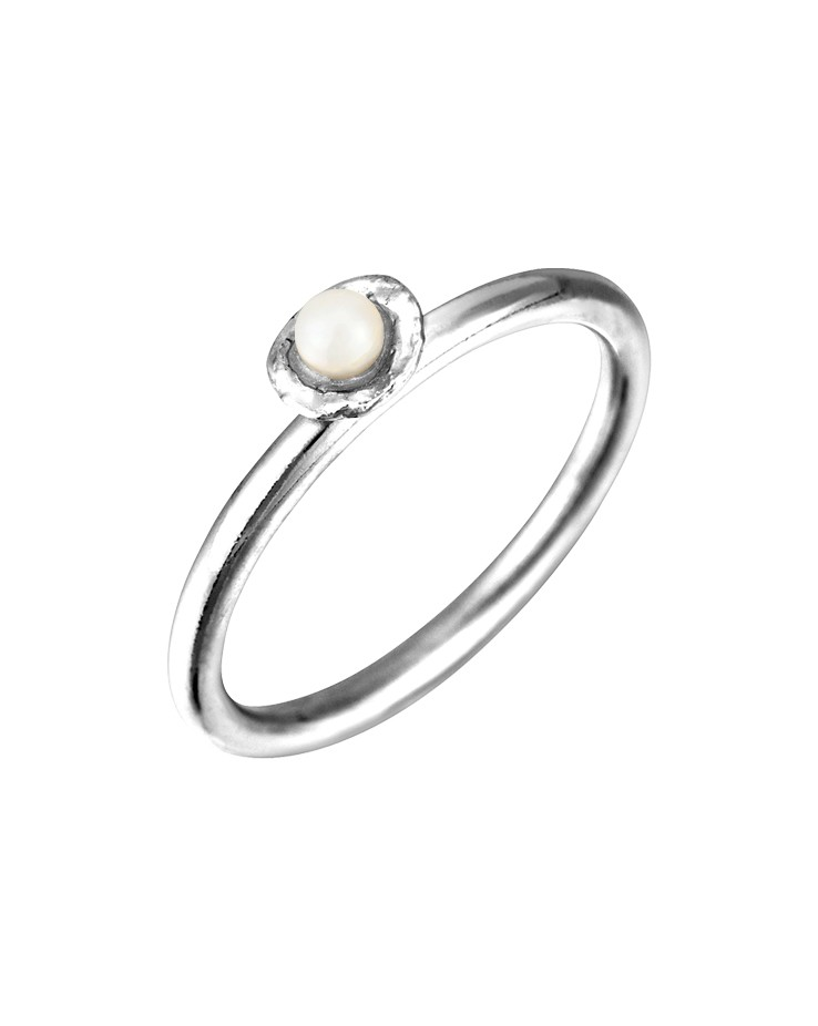 Cornish Tiny Cup Sterling Silver Handmade Pearl Ring