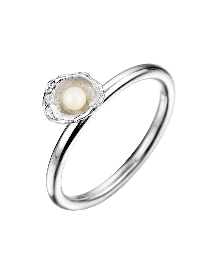 Cornish Seawater Cast Small Cup Sterling Silver Handmade Pearl Ring