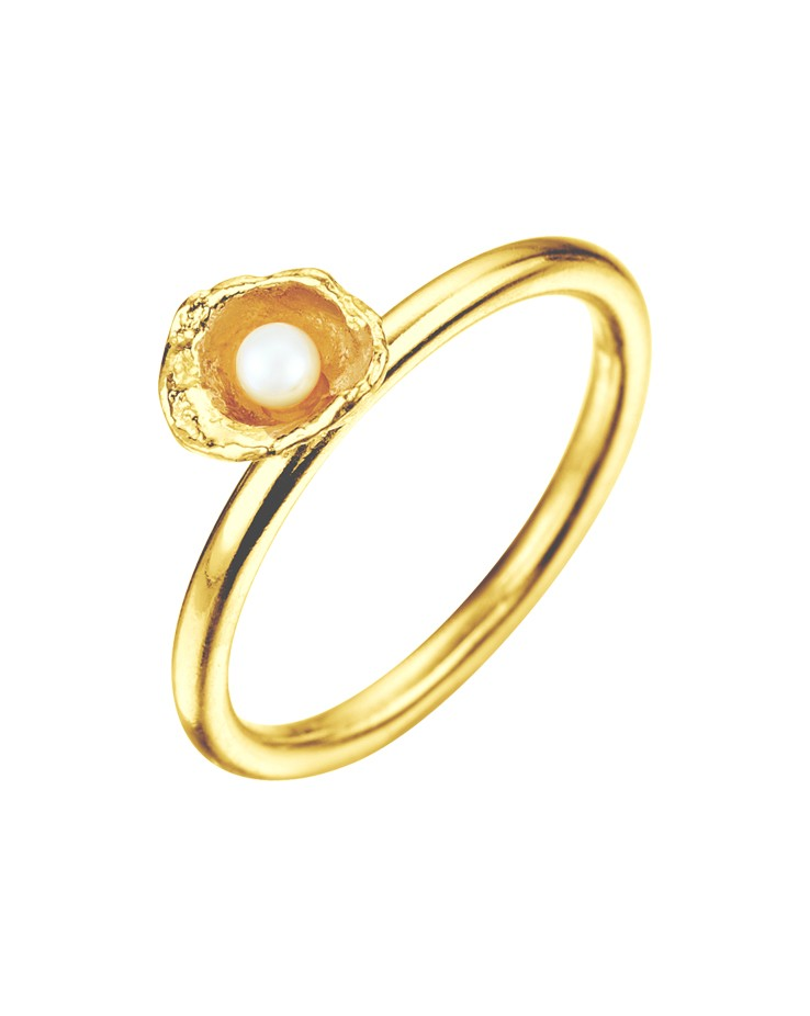 Cornish Seawater Cast Small Cup Gold Vermeil Handmade Pearl Ring
