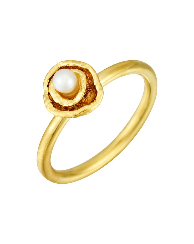 Cornish Seawater Cast Small Double Cup Gold Vermeil Handmade Pearl Ring