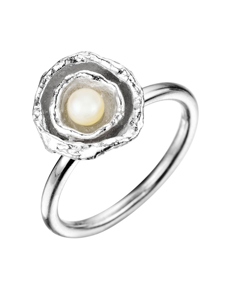 Cornish Seawater Cast Double Cup Sterling Silver Handmade Pearl Ring