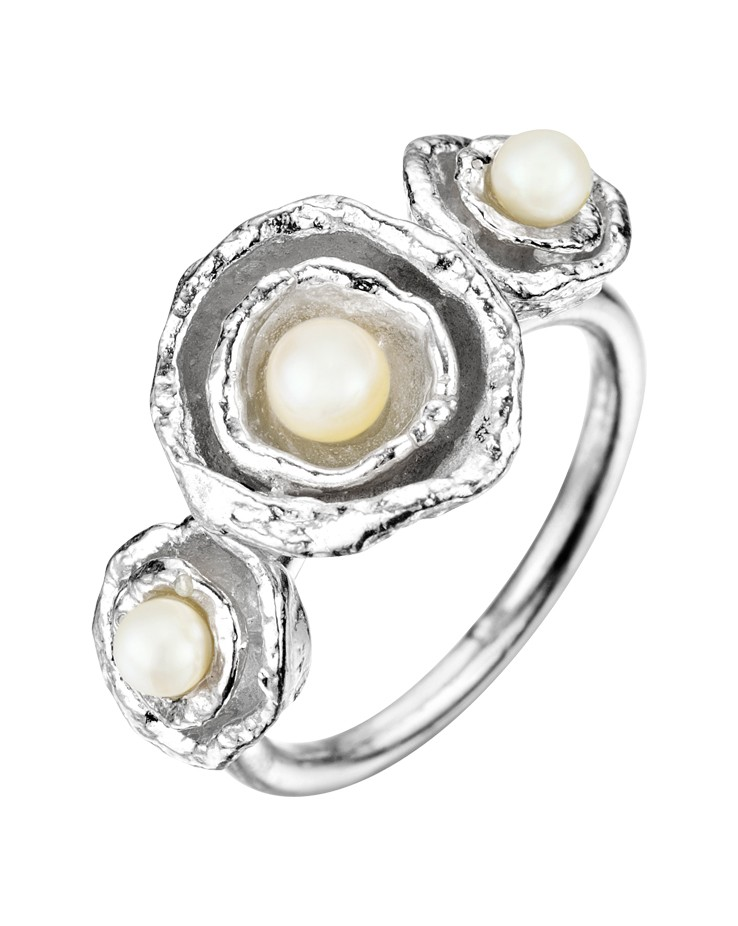 Cornish Seawater Cast Sterling Silver Handmade Pearl Cocktail Ring