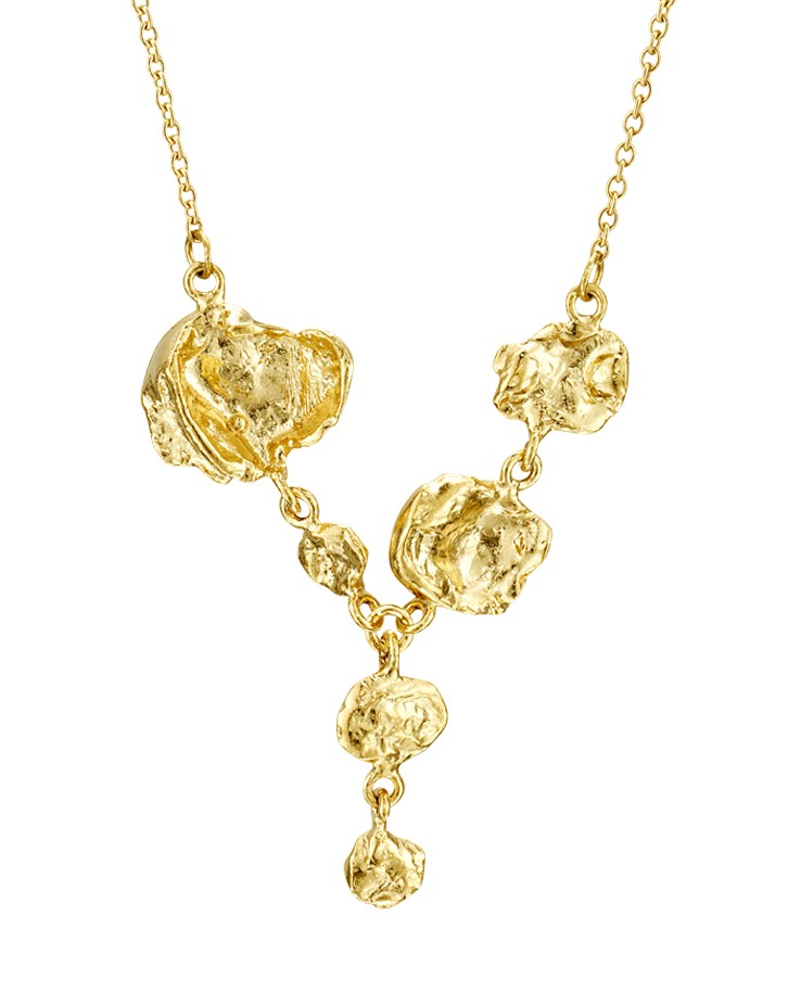 Cornish Designer Jelly Fish Drop 18ct Yellow Gold Vermeil Handmade Necklace From Cornwall UK