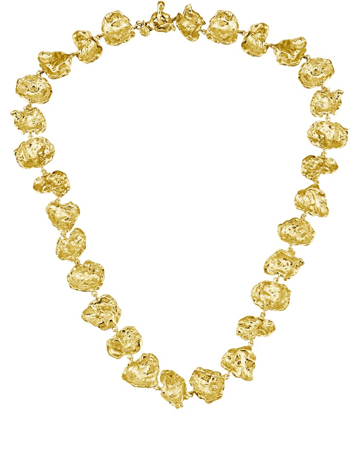 Cornish Designer Rippled Chunky 18ct Gold Vermeil Handmade Necklace From Cornwall UK