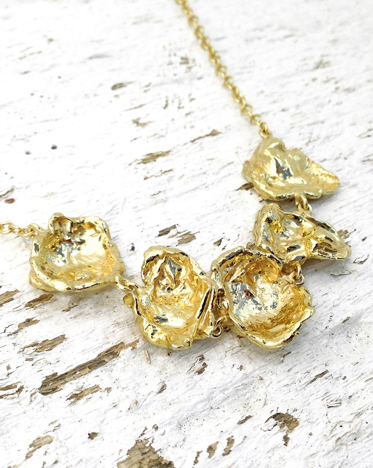 Rippled Section UK Handmade Gold Necklace