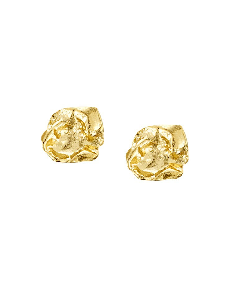 Cornish Designer Rippled Square 18ct Gold Vermeil UK Handmade Stud Earrings From Cornwall