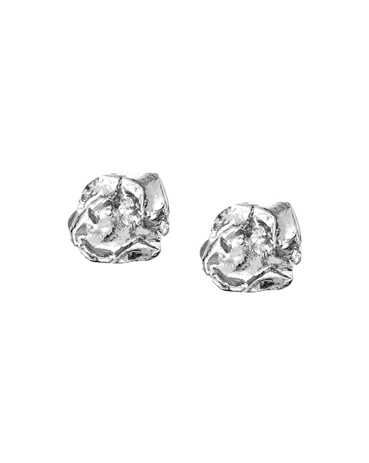 Cornish Designer Rippled Square Sterling Silver UK Handmade Stud Earrings From Cornwall