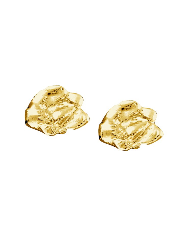 Cornish Designer Rippled Oval 18ct Gold Vermeil UK Handmade Stud Earrings From Cornwall