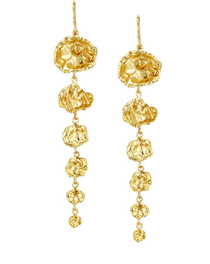 Cornish Designer Six Drop Tapered 18ct Yellow Gold Vermeil Uk Handmade Earrings From Cornwall