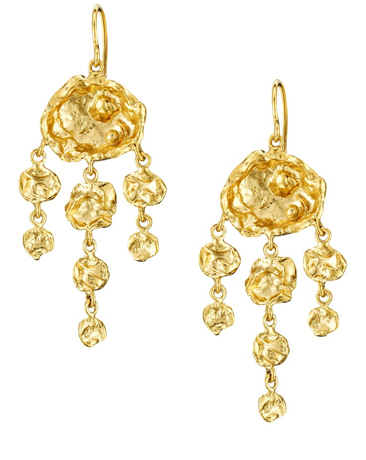 Cornish Designer Jelly Fish 18ct Yellow Gold Vermeil Handmade Chandelier Earrings From Cornwall UK