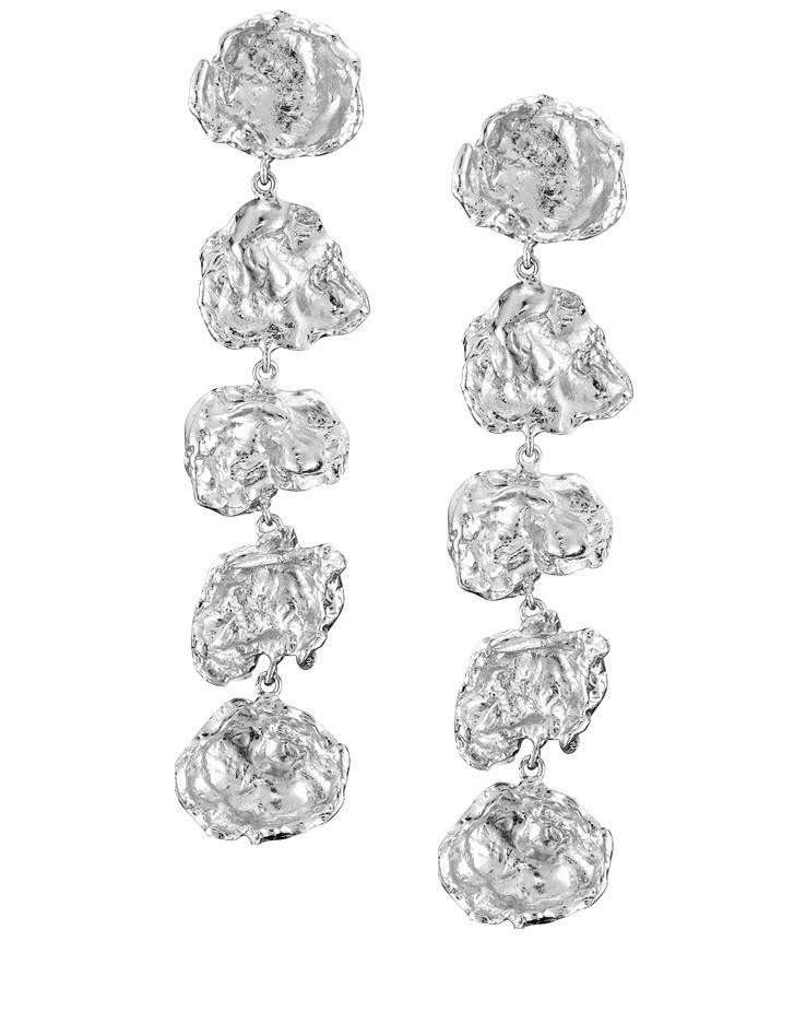 Designer Cornish Large Five Drop Sterling Silver Handmade Earrings From Cornwall UK
