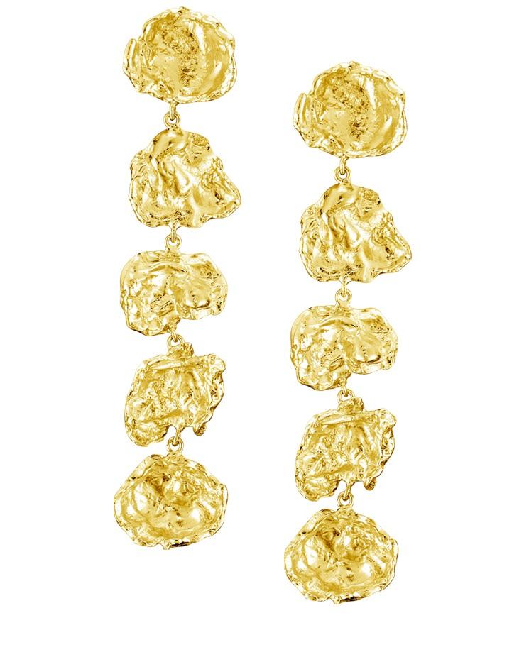 Designer Cornish Large Five Drop 18ct Gold Vermeil Handmade Earrings From Cornwall UK
