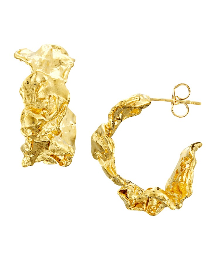 Cornish Designer Rippled Chunky 18ct Gold Vermeil Handmade Hoop Earrings From Cornwall UK