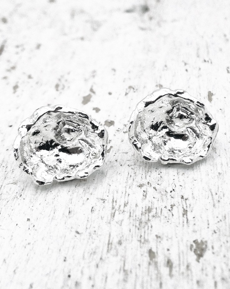 Rippled Large UK Handmade Silver Stud Earrings