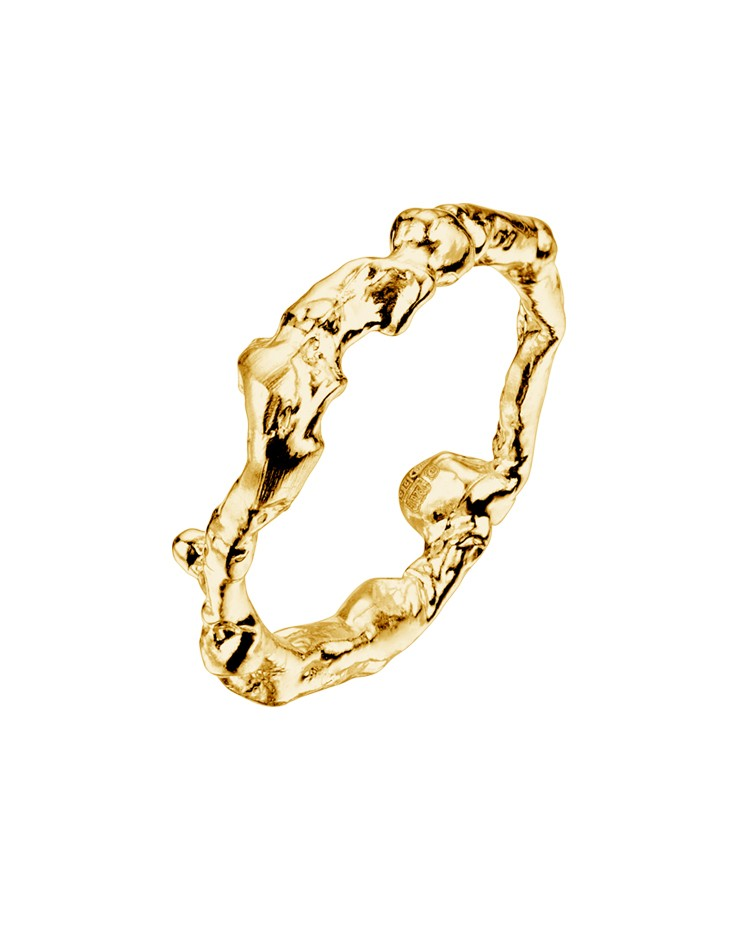 Seawater Cast Driftwood Gold Vermeil Handmade Cornish Ring
