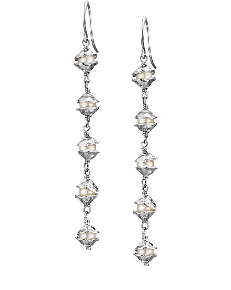 Small Encased Silver Handmade Pearl Drop Earrings