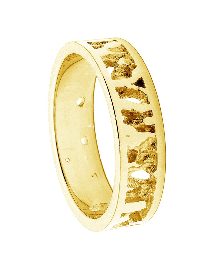Seawater Textured 9ct Yellow Gold Handmade Wedding Ring