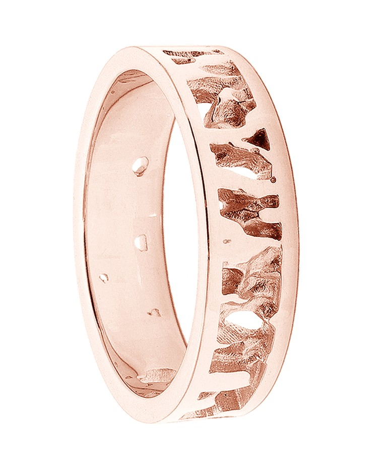 Seawater Textured Nautical 9ct Rose Gold Handmade Wedding Ring