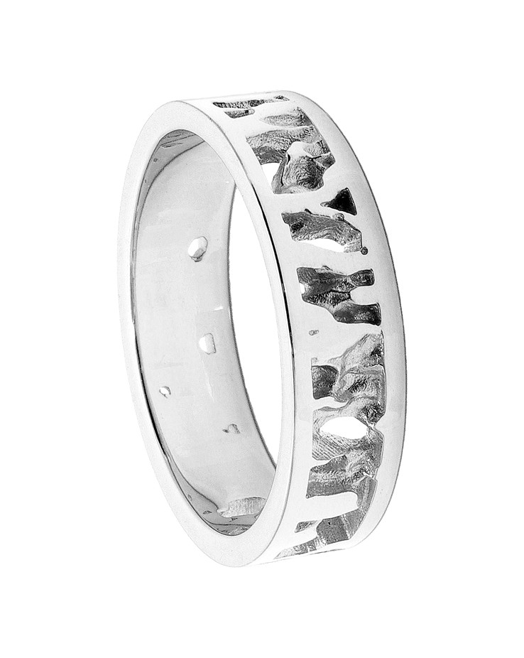 Seawater Textured UK Handmade Silver Wedding Ring