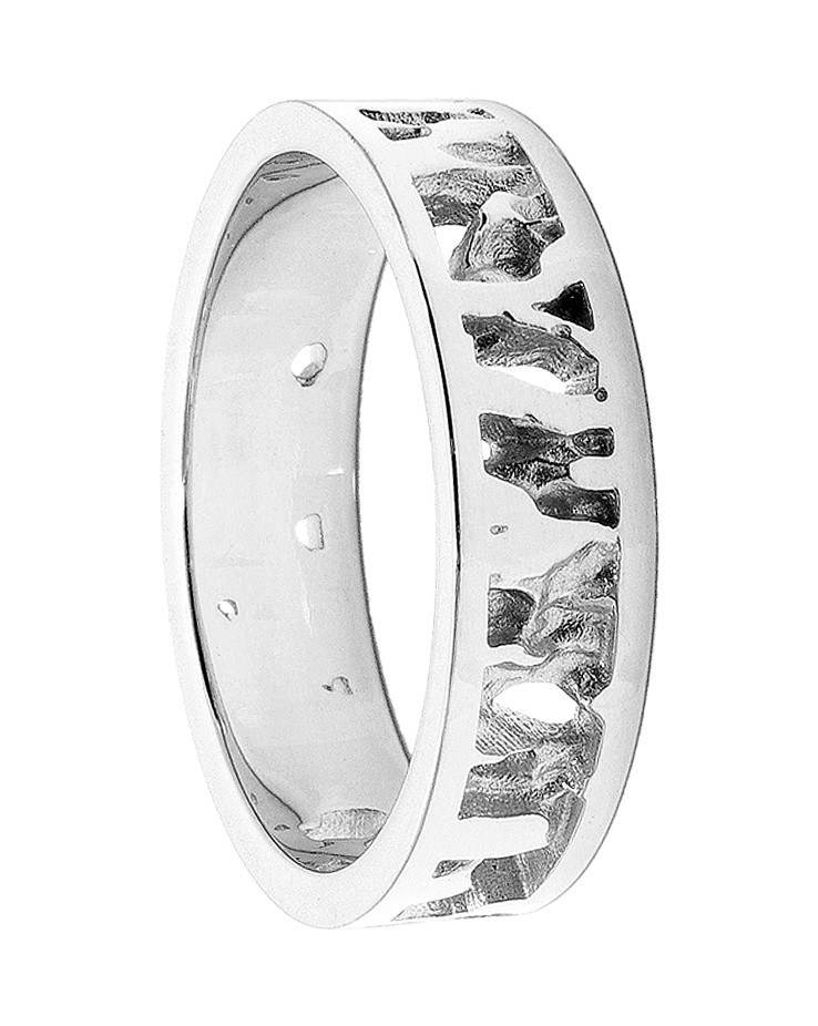Seawater Textured Nautical 9ct White Gold Handmade Wedding Ring