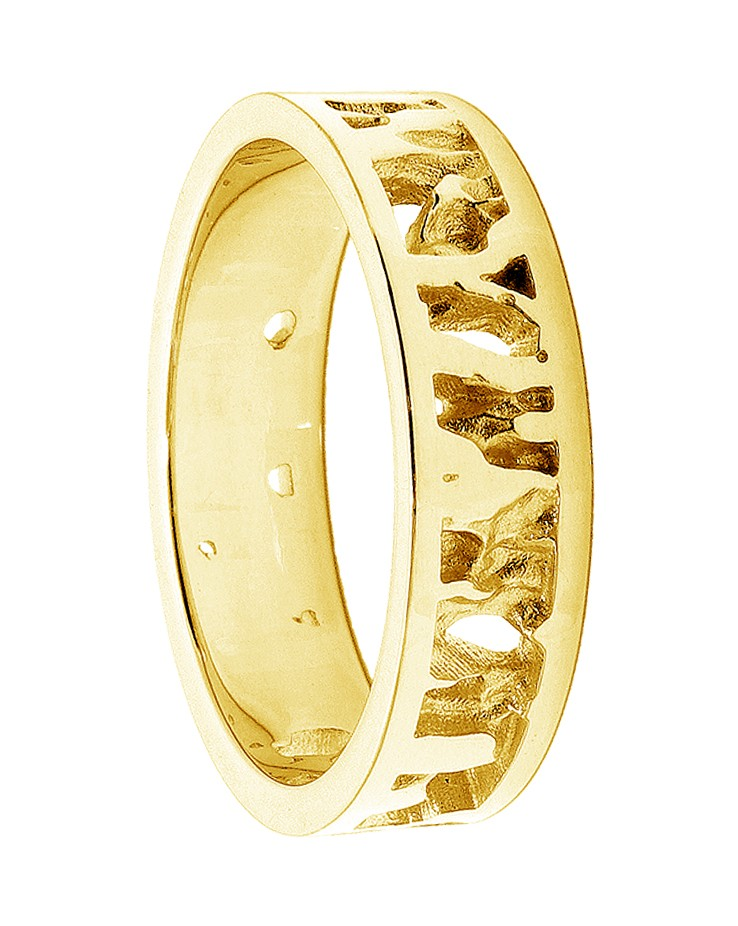 Seawater Textured Nautical 9ct Yellow Gold Handmade Wedding Ring
