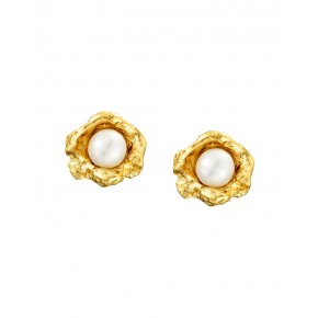 Seawater Cast Flower Cup Handmade Pearl Stud Earrings