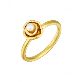 Seawater Cast Small Double Cup Handmade Pearl Ring