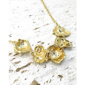 Seawater Cast Rippled Section Handmade Gold Necklace