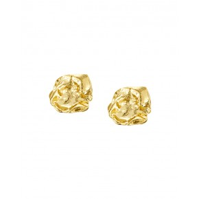 Seawater Cast Rippled Square Handmade Stud Earrings