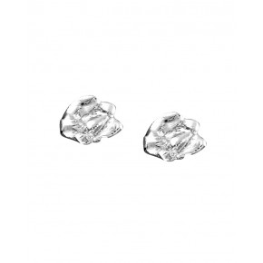 Seawater Cast Rippled Oval Handmade Stud Earrings