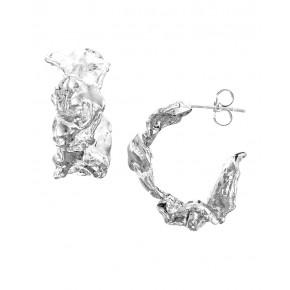Cornish Seawater Cast Rippled Chunky Sterling Silver Handmade Hoop Earrings