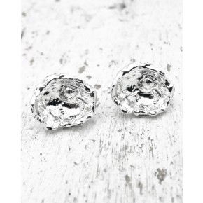 Cornish Seawater Cast Rippled Large Sterling Silver Handmade Stud Earrings